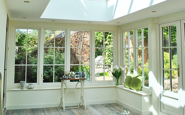Cream Orangery with Storm Windows