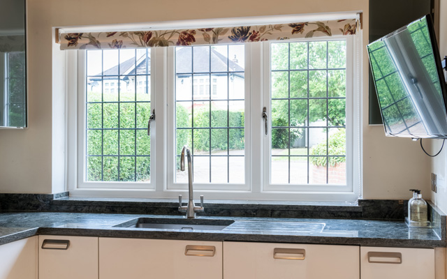 Evolution leaded windows modern kitchen